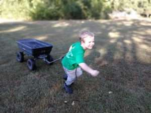 Pulling a wagon at Haven Fellowship Church Workday 2019