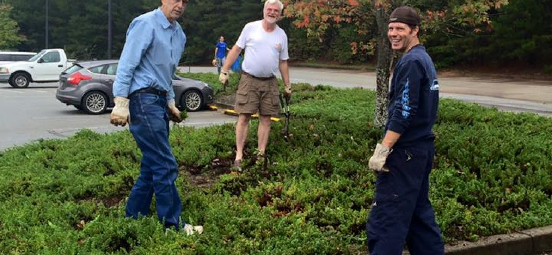 Keeping the grounds clean at Haven Fellowship Church